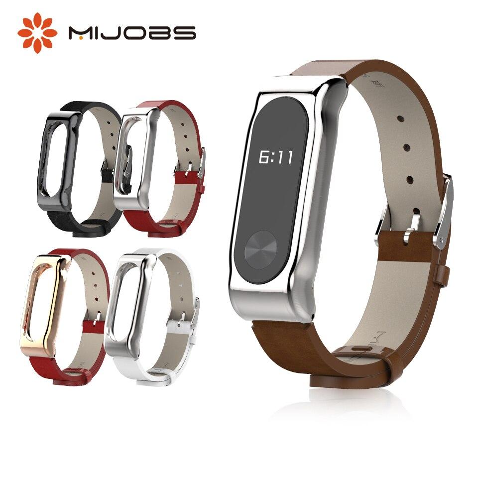 Mijobs Mi Band 2 PU Leather Wrist Strap For Xiaomi Mi Band 2 Smart Bracelet Miband 2 Accessories Mi2 Band Watch Metal Wristband
