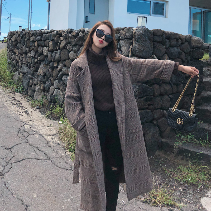 Lâche 1 X Vêtements Manteau Polyester Hiver Épais Le De Plus long 2 Pardessus Coton Laine Plaid Femmes Rétro Automne Nouvelles Cotton Outwear OBUZwwq