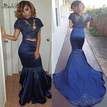 99766840eb Modabelle azul marino De 2 piezas vestido De baile De graduación Vestidos  Largos apliques encaje De 2019 negro chica vestido De .