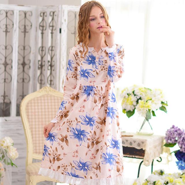 Nova Chegada do Verão Mulheres Camisolas de Algodão Longo-Sleeved Azul Flor Impresso Princesa Camisola Doce Bonito Manto Completo