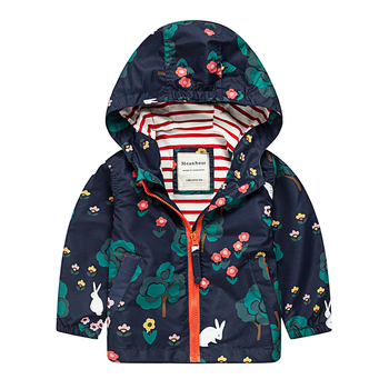 M05 Spring Autumn Fashion Rabbit Big Tree Thin Coat Child  Thin Padded Lining Jacket Hoodies Keep Warm Girl Coat Tops Outwear