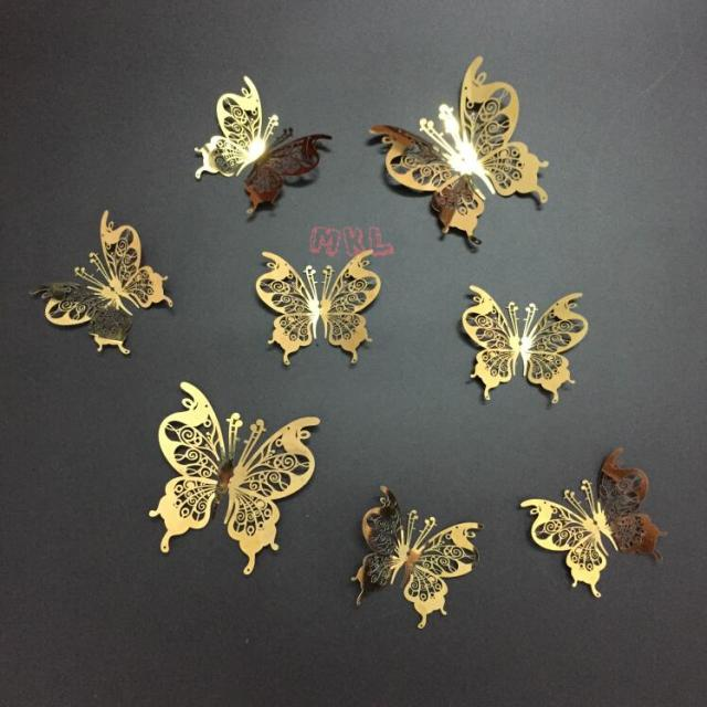 Free Shipping 8 X Gold 3D Butterfly Wall Decor Art Mirror Wall Sticker Stainless Butterfly Art & Free Shipping 8 X Gold 3D Butterfly Wall Decor Art Mirror Wall ...