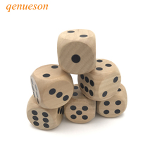 6 Pcs/Lots High quality 25mm Woodiness Drinking Dice Solid Wood Puzzle Children Interesting Teaching Set Wholesale qenueson