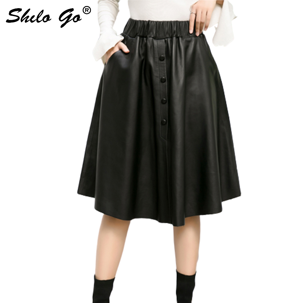 Plus Size Leather Skirts Women Summer Casual Sheepskin Genuine Leather A Line Skirts Front Single Breasted Female Knee Skirts