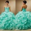 2015 Moda Rendas com Cristais Turquesa Vestido Quinceanera Bola Vestidos de Organza Meninas 15 anos Vestidos de Festa