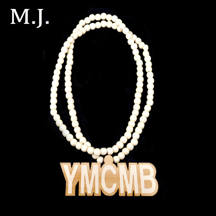 fashion necklace for women colares bijuterias hip hop wood ymcmb pendant necklace brand long chain letter