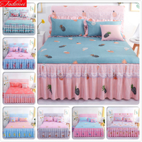 Pink Blue Bed Sheets + 2 Pillowcase Kids Girl Bedspreads Single Twin Double Queen King Size Bed Skirt Double Lace Princess Linen