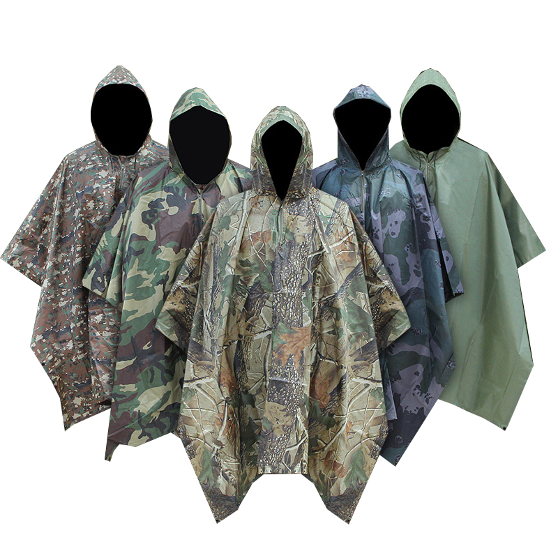 Adults Long Camouflage Waterproof Rain Coat  Camo Cagoul Trench Mac