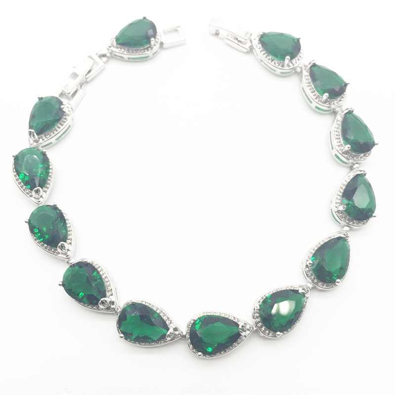 925เงินสเตอร์ลิงน้ำหยดสีเขียวสร้างมรกตสีขาวCZผู้หญิงเครื่องประดับชุดต่างหู/จี้/สร้อยคอ/แหวน/สร้อยข้อมือ