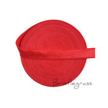 "BRISTLEGRASS 5 Yard 3/8"" 10mm Poppy Red Spandex Satin Band Shiny Non-fold Over Elastic Headband Dress Bra Strap Lace Trim Sewing(China)"