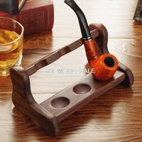 Wholesale quality Ebony tobacco pipe Supports,L type 3 seats smoking pipe holder,smoking accessories,best gift for men