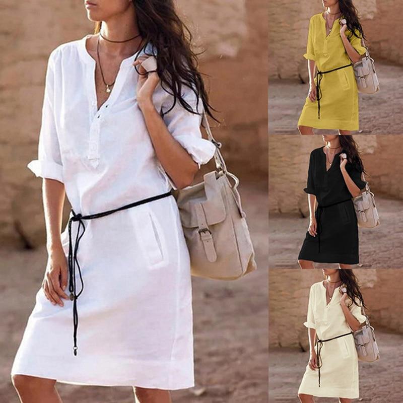 Belt Casual Dress Women Fashion White Shirt Midi Dress Plus Size Solid Loose Pocket Half Sleeve Autumn Women Dress 5XL CDR610