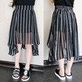 Новое поступление 2016 лето мода асимметричный детская полосатый юбка свободного покроя шифон девушки шеврон юбки suit2 ~ 7age детские юбки