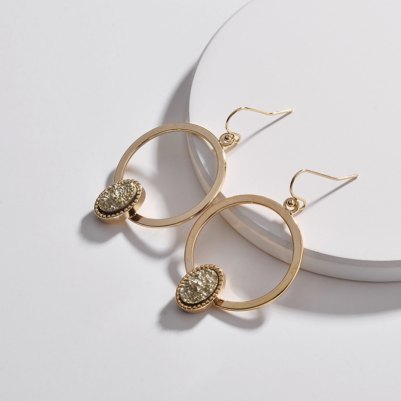 Faux Copper Circle Oval Druzy Quartz Drop Earrings 3