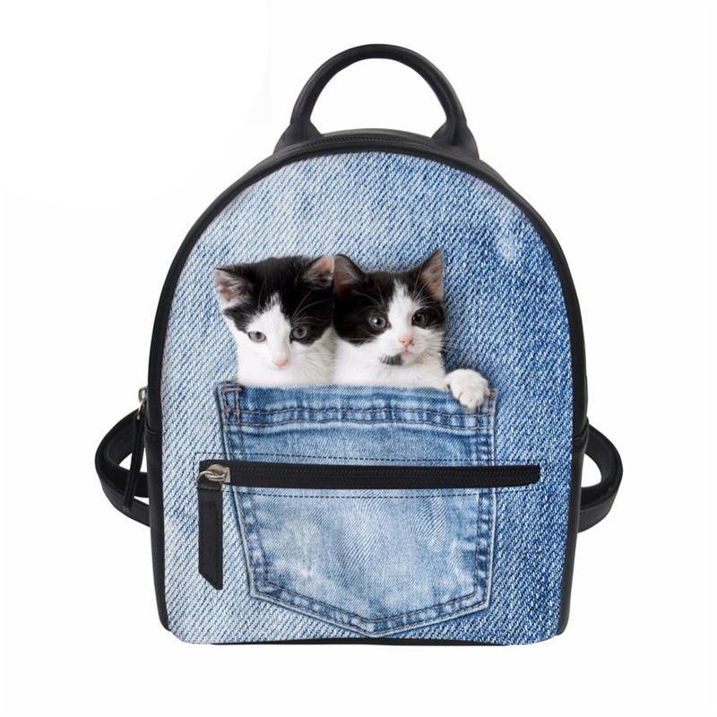 Customized Women Backpack School Bag Teenage Girls School Bagpack Blue Denim Pocket Cat Printing PU Leather Mochila Beach Bag