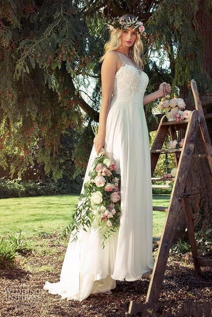 2016 Elegant Boho Wedding Dresses Bohemian Plus Size Lace Chiffon Wedding Dresses Pregnant Maternity Gowns robe de mariage