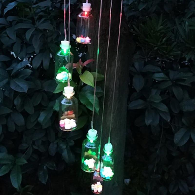 Outdoor LED Solar Lamp Bottle Wind Home Decor Solar Light Color-Changing Wind Chime Light Solar Light For Garden Decoration