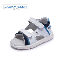 Купить с кэшбэком Jackmiller toddler sandals genuine leather for boys causal flats soft little children Summer shoes white navy size 21-26