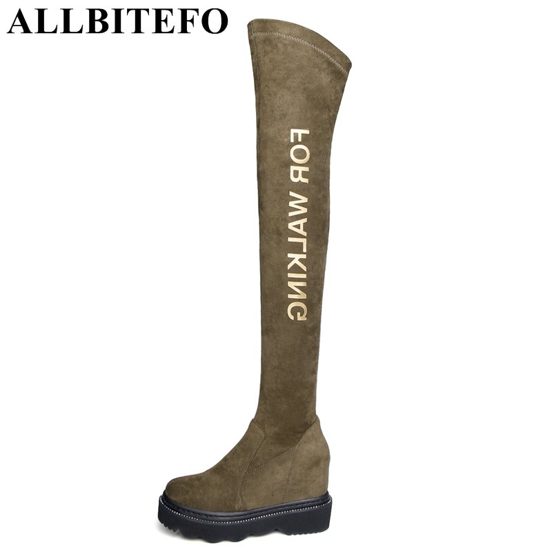 ALLBITEFO fashion sexy Nubuck leather+Stretch material high heels platform women boots over the knee high boots long boots hot sale fashion long boots for women nubuck leather sexy high heels over the knee boots shoes ladies platform boots cn a0012