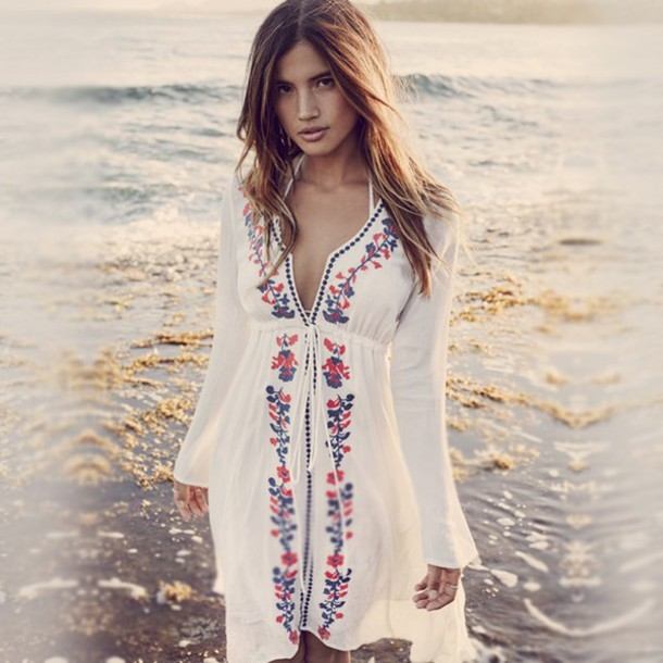 b3b34094dad9a Summer Sexy Swimwear Cover Up Beach Dress Women White Embroidered Beachwear  Swimsuit Cover Ups Tunic loose blouse Bikini smock