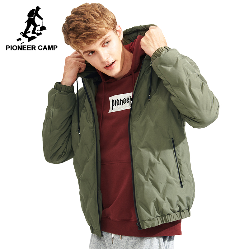 Pioneer Camp New design thin light down jacket men brand-clothing fashion hooded white duck down coat male top quality AYR701300