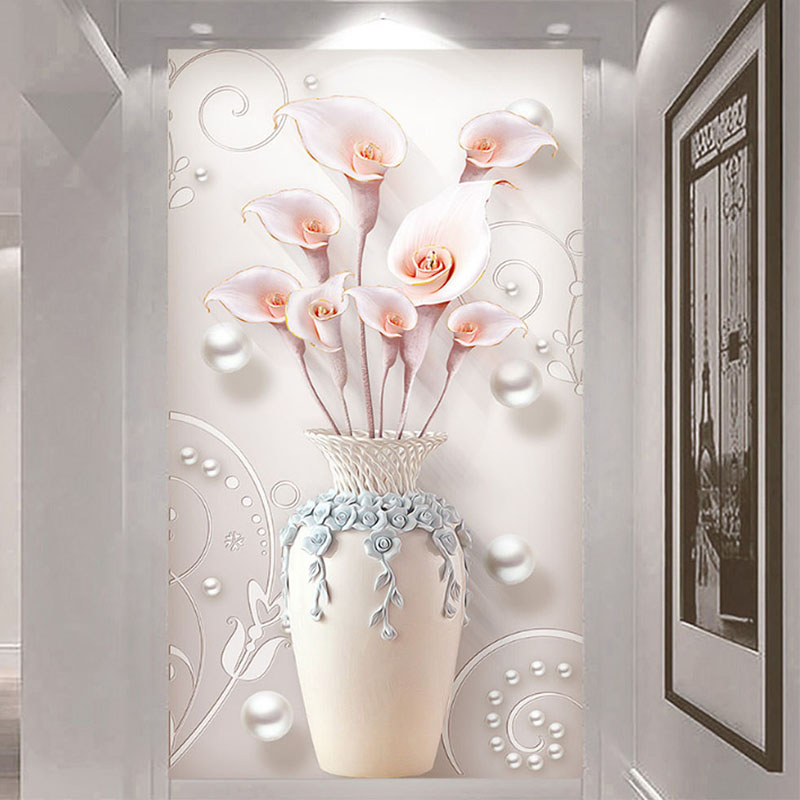 Custom Self-Adhesive Waterproof Canvas Mural Wallpaper 3D Stereo Vase Flowers Photo Wall Paper Living Room Entrance Home Decor