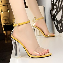 New Fashion Women Sandals Transparent PU Ankle Strap Chunky Heels High Classic Shoes She ERA