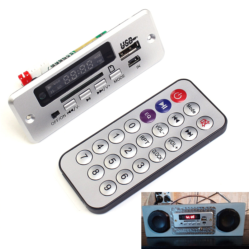 Nouvelle Mini 5 V MP3 Décodeur Bord Bluetooth Appel Module de Décodage MP3 WAV U-Disque et TF Carte USB Avec 2*3 W Amplificateur À Distance Contrôleur