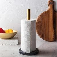 Natural marble towel holder gold plated kitchen tissue holder brass shelf creative roll tissue holder