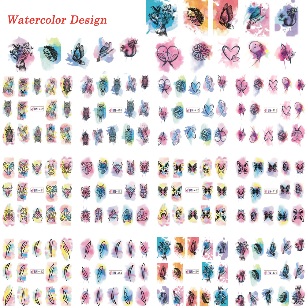 12 Designs/lot Watercolor Beauty Butterfly DIY Decorations Nail Art Tips Nail Sticker Nail Decals Manicure Tools TRBN409-420