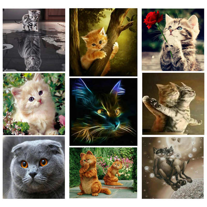 DIY 5D Diamond Painting Cross Stitch circular Mosaic Diamond Embroidery Cats tigers Needlework Patterns Rhinestone Paintings JK