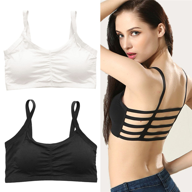 Sexy Women Stripe Boho Back Bra Crop Top Tank Cami Hollow Bralette Hot