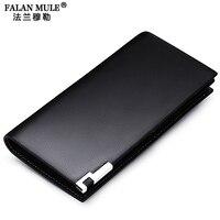FALAN MULE Top Grade Cow Leather Men Wallets Business Long Design Luxury Slim Wallet Purse Card