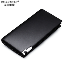 FALAN MULE Top Grade Cow Leather Men Wallets Business Long Design Luxury Slim Wallet Purse Card Holder