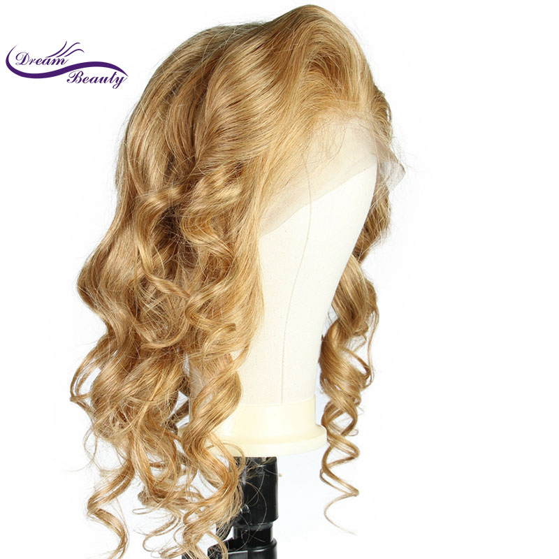 Friendly Dream Beauty Blonde 13x6 Lace Front Human Hair Wig Peruvian Remy Hair Wavy #27 Color Lace Wig Baby Hair Bleached Knots