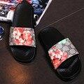 Moda Floral de Las Mujeres Desliza Zapatos de Mujer de Marca Diseñador De Zapatillas de Verano Zapatillas Sandalias de Playa