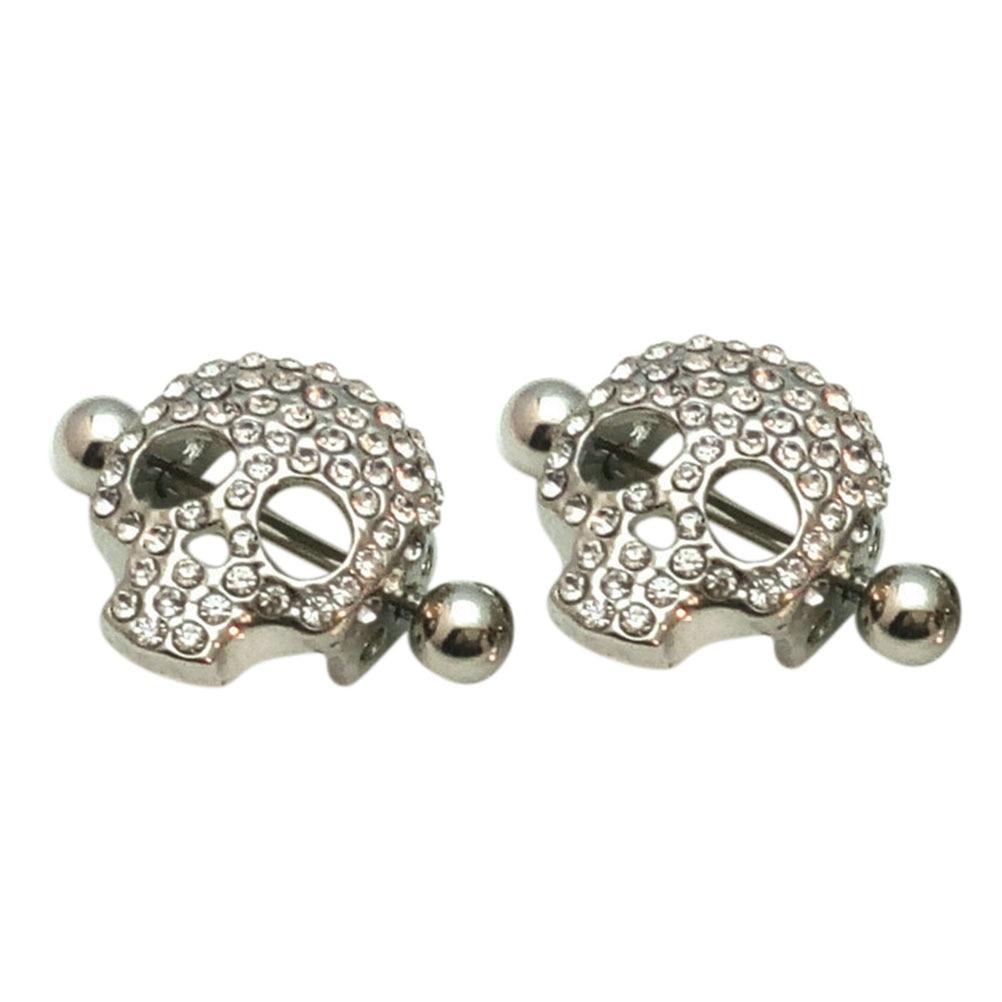 316L Surgical Sexy Nipple Piercing Skull Design Shield Nipple Ring Steel Women Girls -3093