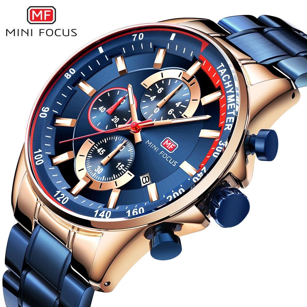 MINI FOCUS Fashion Blue Quartz Mens Watches Top Brand Luxury 3 Sub-dials 6 Hands Calendar Multifunction Militray Wristwatches
