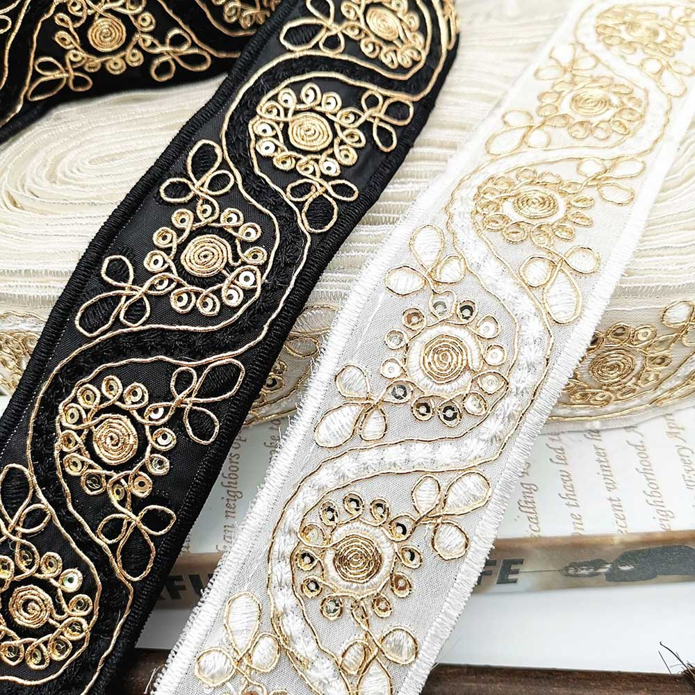 Lychee Life 2 Yards Sequin Lace Trims Black White Floral Lace Ribbon For Bridal Lace DIY Sewing Material For Dress Decoration