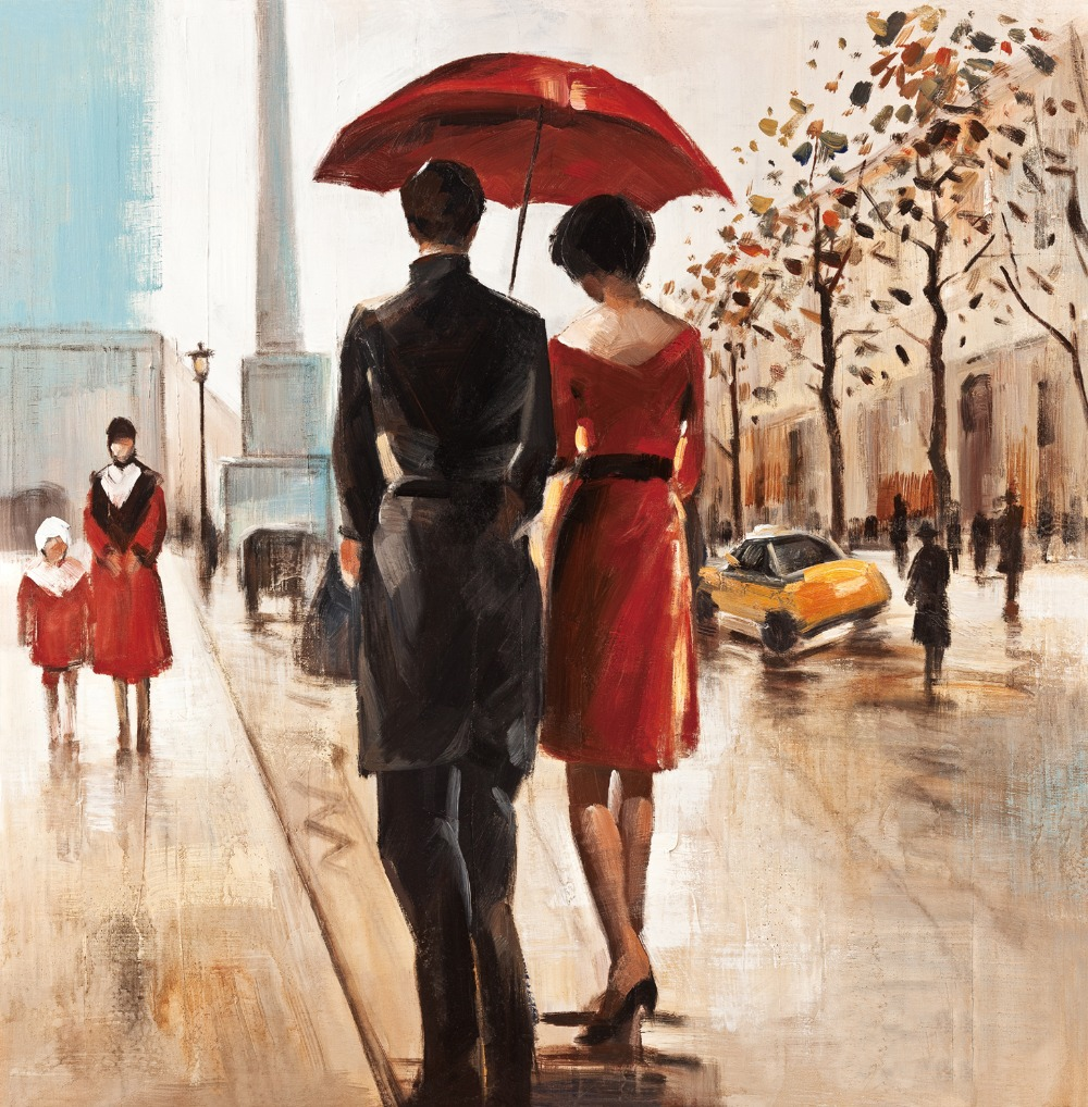 Well-known 2015 Couples umbrella love street painting home decor wall art  FU53