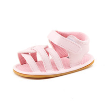 Delebao 2017 Newdesign Summer Stripe Lazy Baby Girl Sandals Bright Pink Hook & Loop Rubber Sandals
