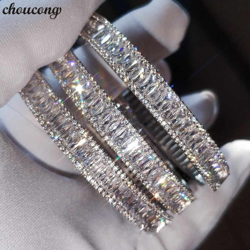 choucong Charm bracelet Baguette Cut 5A cubic zirconia White Gold Filled Engagement Wedding bangle for women Fashion accessaries