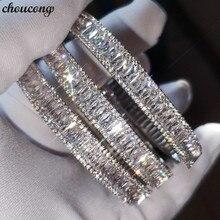 Choucong charme pulseira baguette corte 5a zircônia cúbico branco ouro enchido noivado casamento bangle para moda feminina accessaries