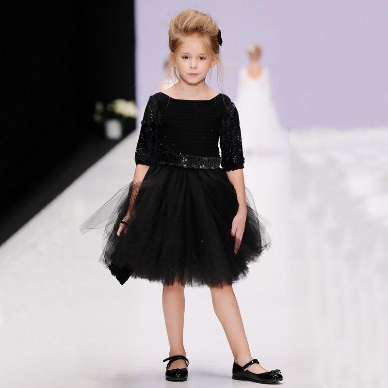 Hooyi Long Black Girls Full Dress Formal Party Dresses Fashion Lace Sparkle Children Tutu Dress Night Ball Gown Hollow Sleeve
