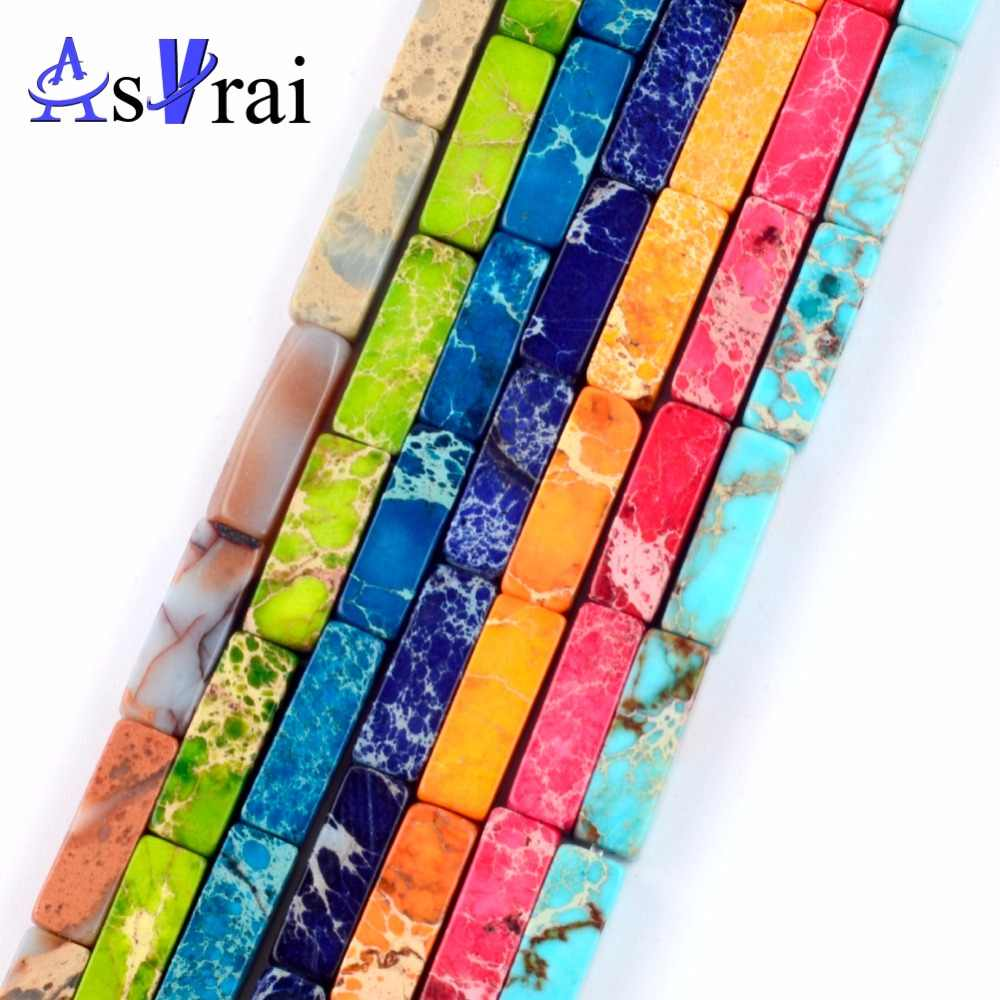 30pcs Natural Stones Sea Sediment Jaspers Tube Loose Beads for Jewelry Making 4*13mm Spacer Beads Fit Diy Charka Bracelets