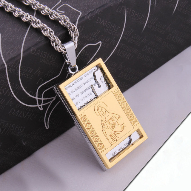 jesus necklace men gold jewelry 316L Stainless Steel 18K Gold ...