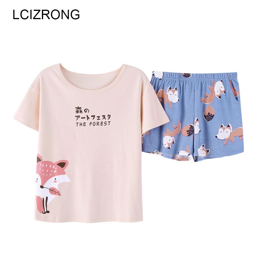New Spring Fox Cartoon Pants + Tops   Pajamas     Sets   Women Cotton Nightgown 2pcs/  set   Summer Cute Girl Home Sleepwear Hot Selling