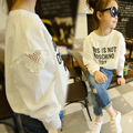 Korean Girls First Spring Autumn Lace Empty Letters Long Sleeve Shirt Long Sleeve Kids Clothing White Letters Printing