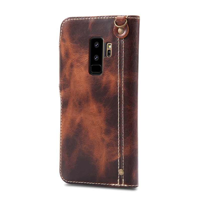 eb647d152 Detail Feedback Questions about Solque Genuine Leather Flip Wallet Case For Samsung  Galaxy S9 S10 Plus S10E Mobile Phone Cases Luxury Vintage Card Strap ...