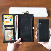 Retro Leather phone Case Multi Card Holders Phone Case for iphone 5 S SE 6 s 7 8 plus X S MAX R protective screen phone Cover